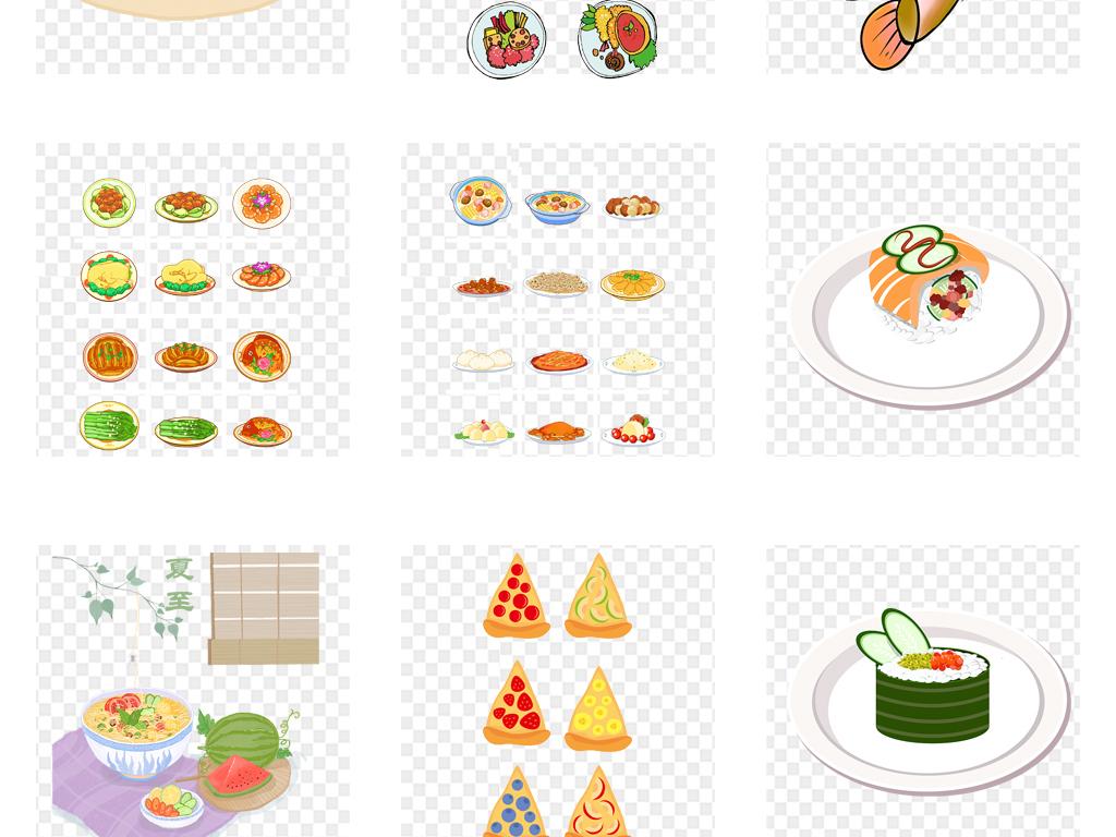 卡通手绘开业火锅各种美食点心海报背景png素材