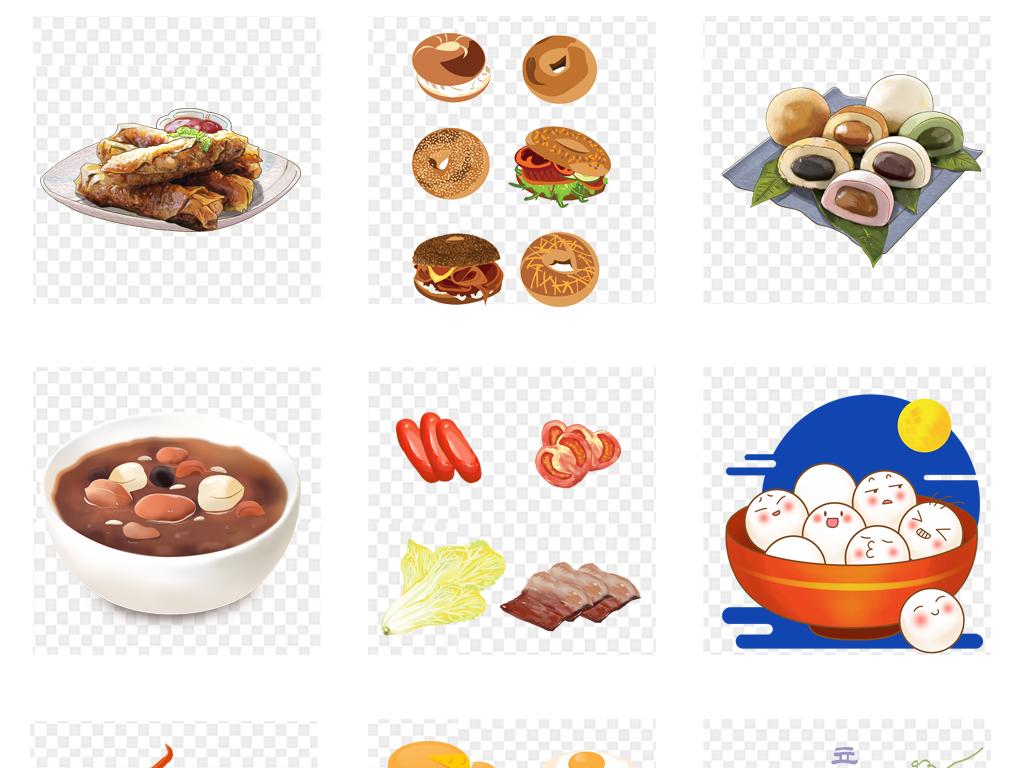 卡通手绘开业火锅各种美食点心海报背景png素材图片
