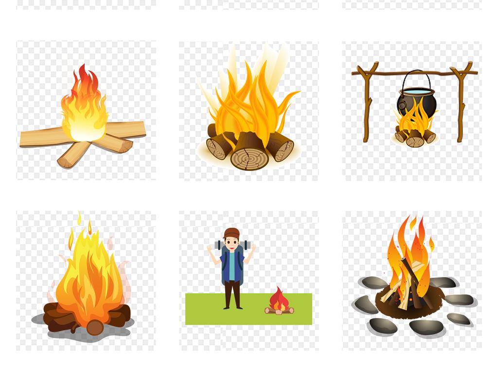 卡通手绘红色火焰png火png篝火png柴堆png火炬png火堆png火焰png黄色