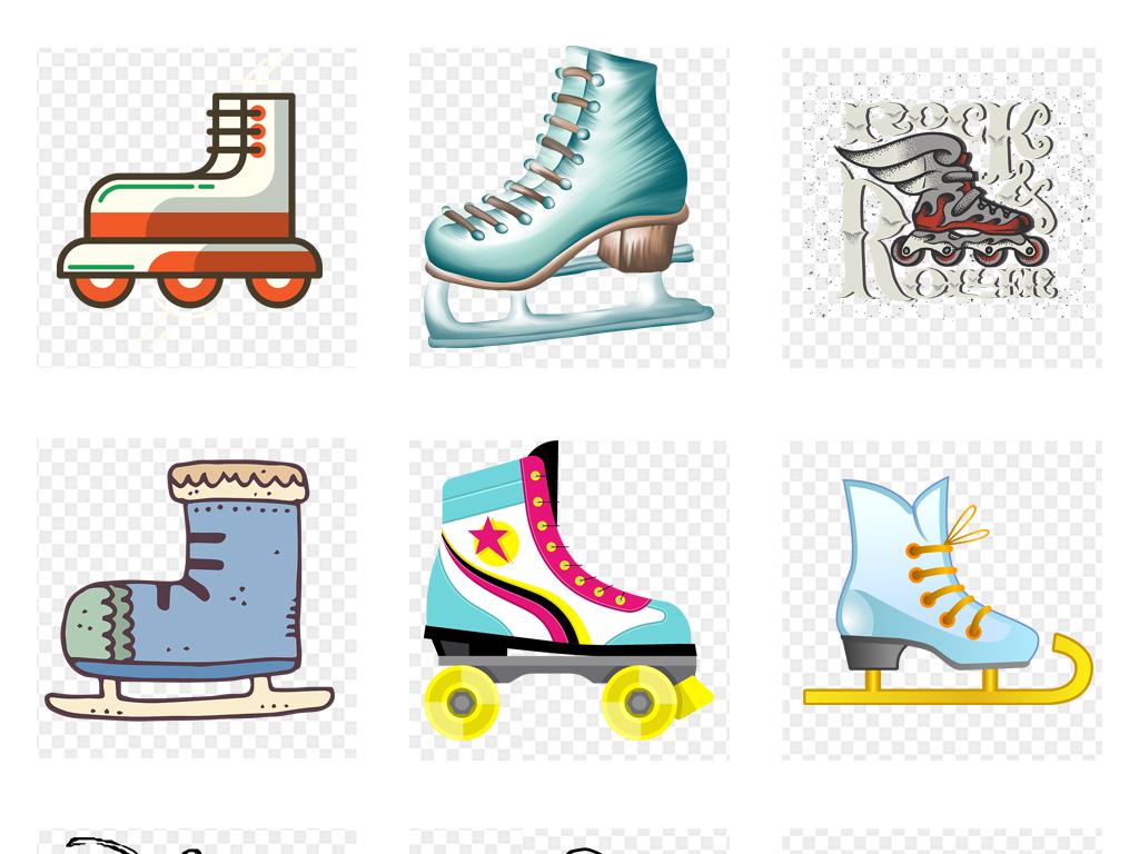 卡通手绘溜冰鞋旱冰鞋运动器材png素材