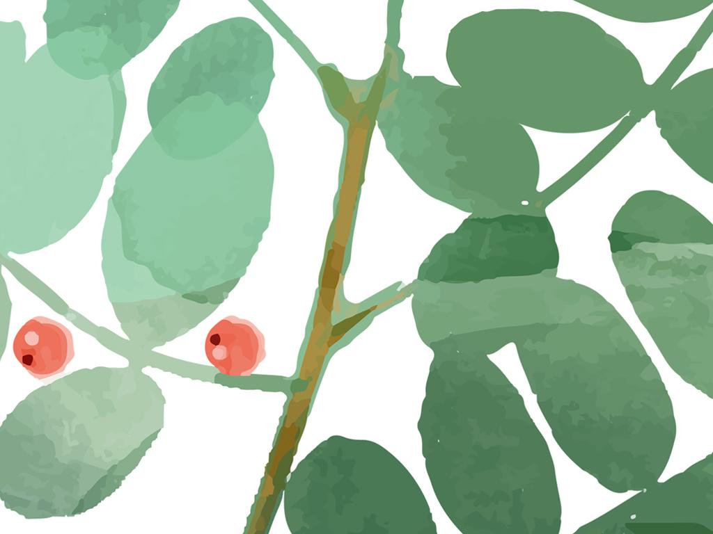 > ins小清新北欧风三联装饰画手绘水彩叶子植物装饰画  素材图片参数