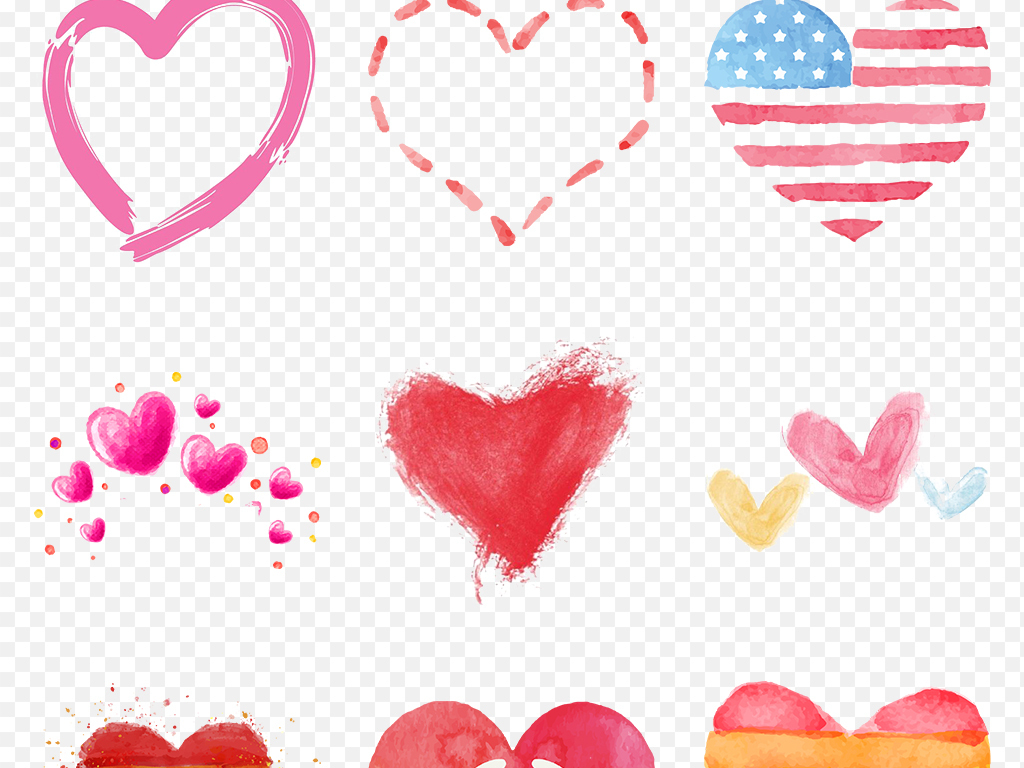 手绘水彩爱心心形心动520海报素材背景png