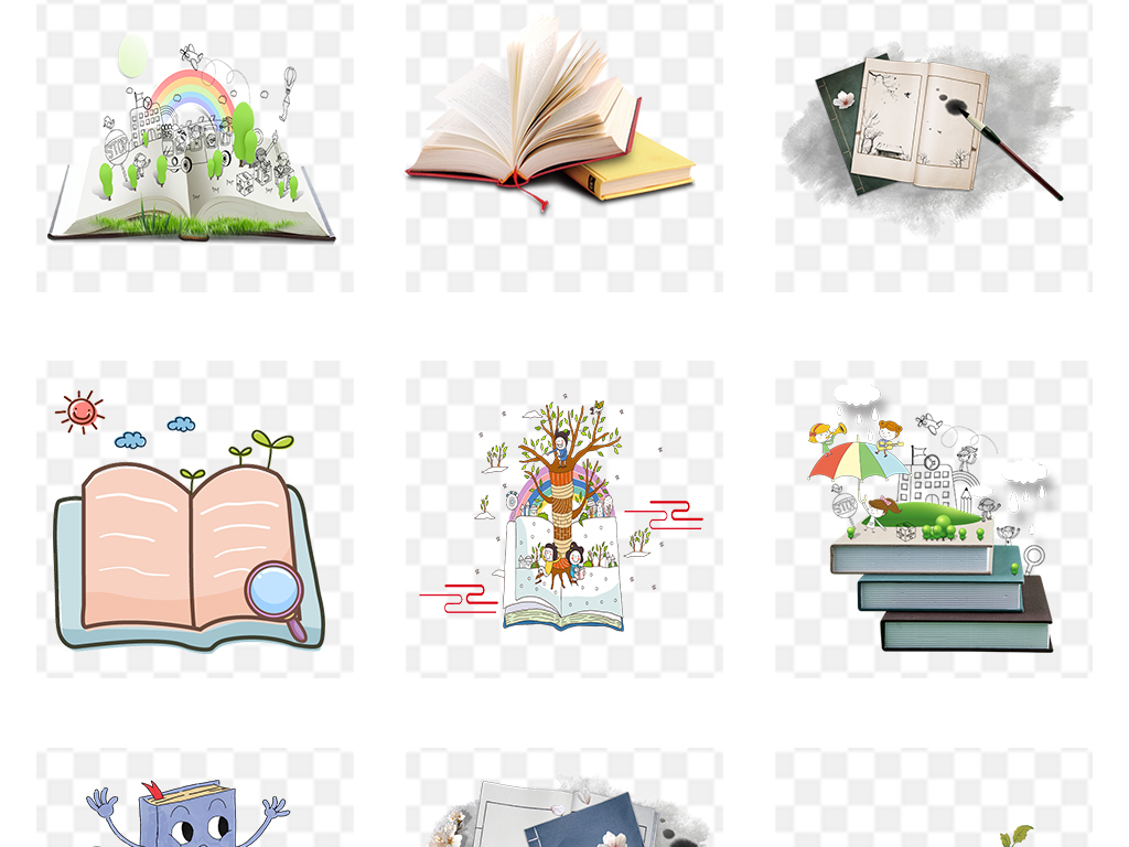 手绘书开学季书本书籍书本背景图书背景图书馆卡通扁平化书本绘本办