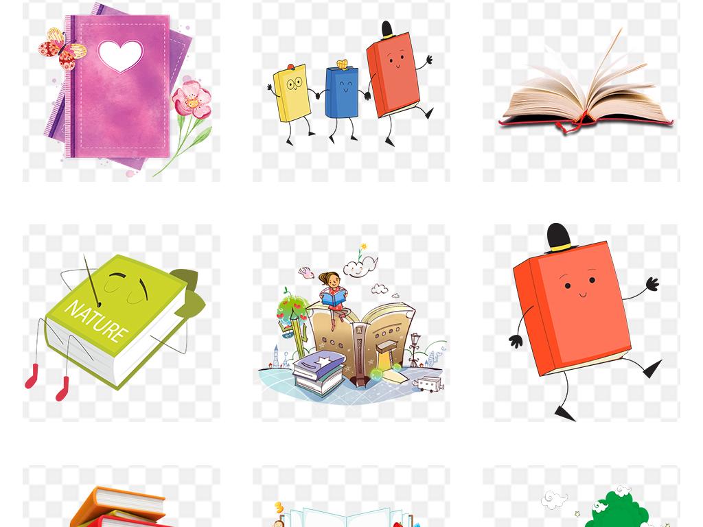 手绘书开学季书本书籍书本背景图书背景图书馆卡通扁平化书本绘本办公