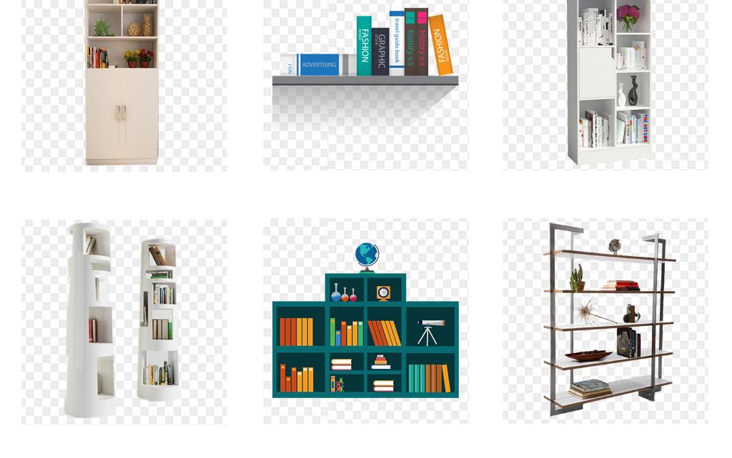 卡通图书馆创意书架展架书柜png素材图片