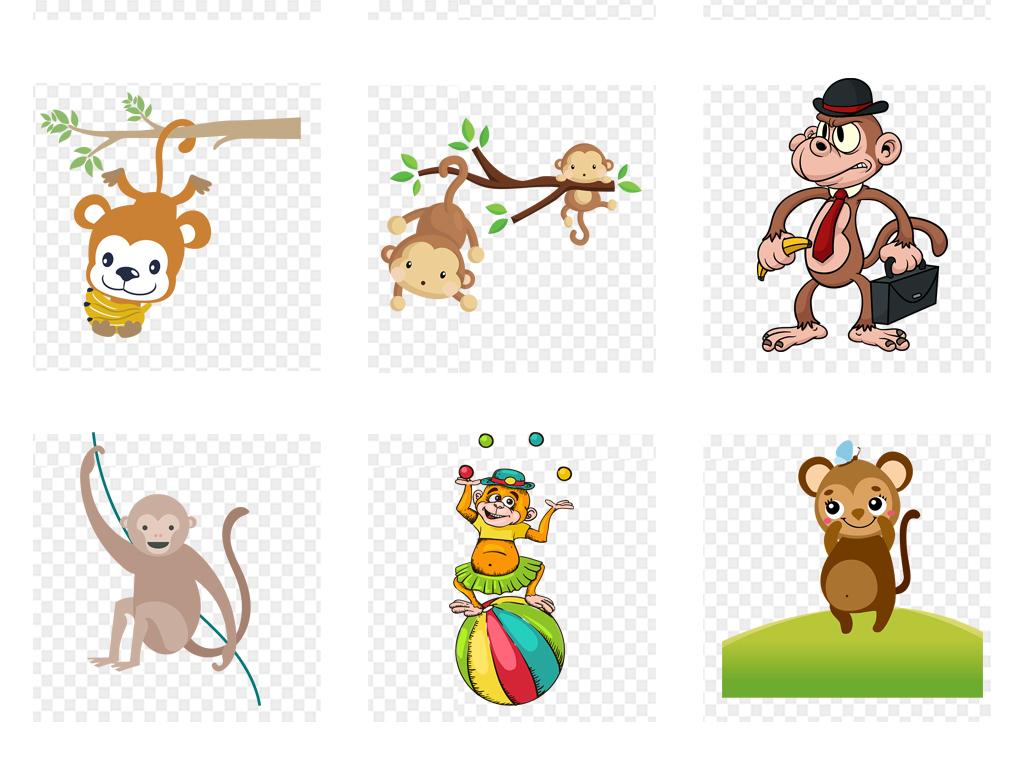 可爱卡通猴子动物海报背景png免扣素材