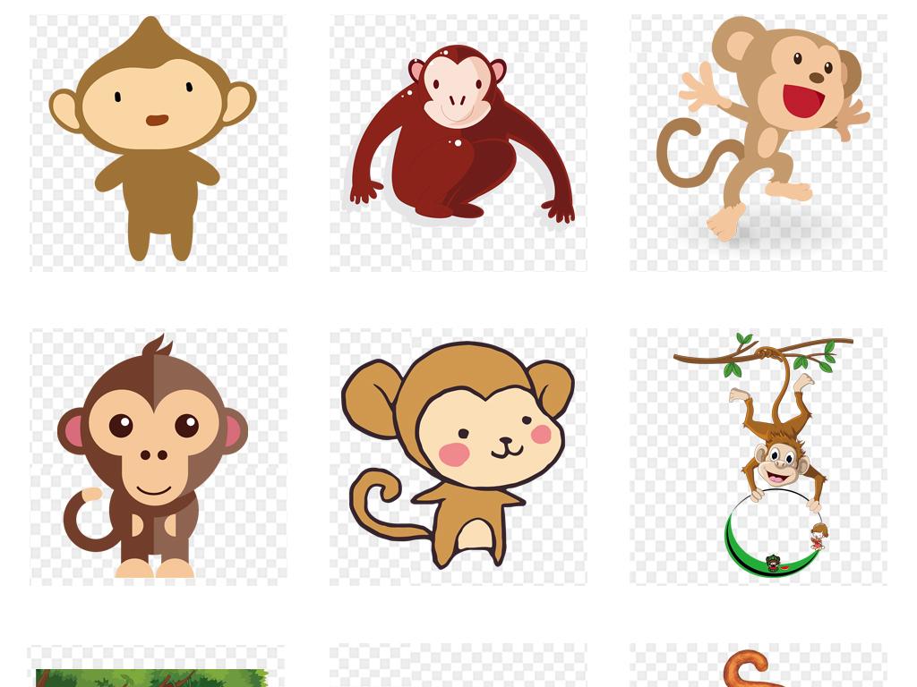 画猴子用什么颜色_可爱卡通猴子动物海报背景png免扣素材