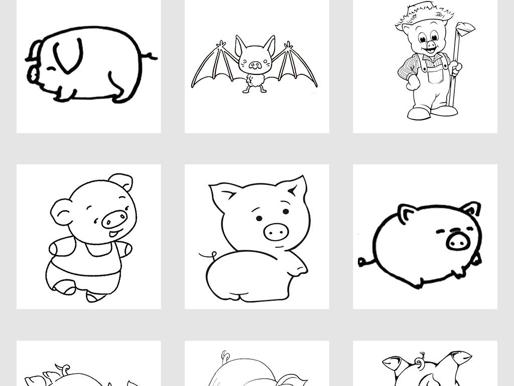 卡通手绘小猪涂鸦线条简笔画png免抠素材