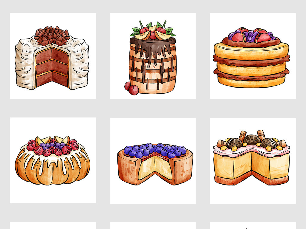 高清手绘卡通蛋糕甜点png免抠图片素材