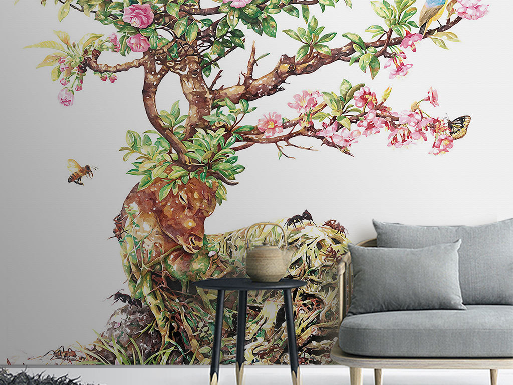 欧式创意手绘麋鹿花树小鸟玄关背景墙装饰画