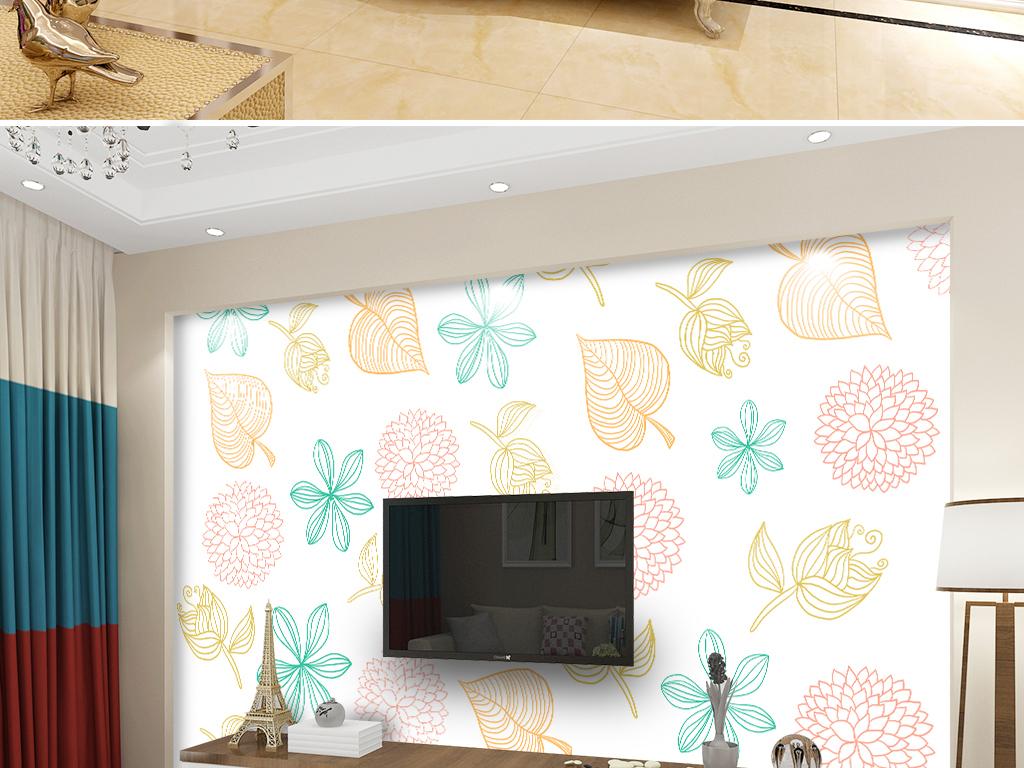 现代简约电视背景墙 > ins现代手绘水彩小清新治愈系线条几何树叶背景