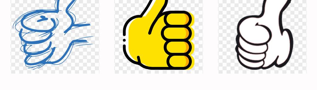 50款可爱卡通大拇指手绘点赞手势动作背景png素材