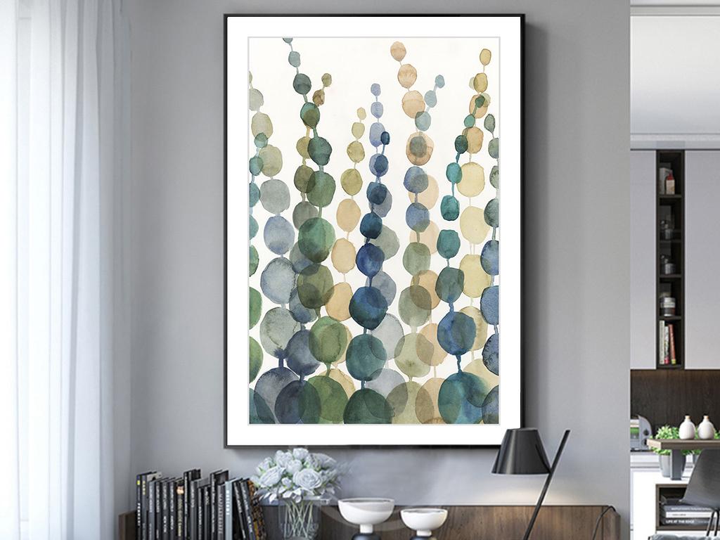 现代简约手绘ins水彩植物小清新北欧装饰画