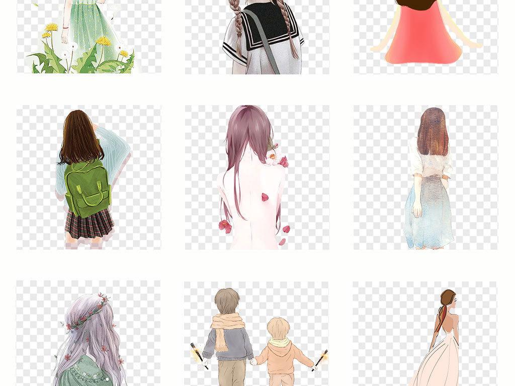 免抠元素 人物形象 美女 > 卡通手绘女孩彩绘人物背影文艺png素材