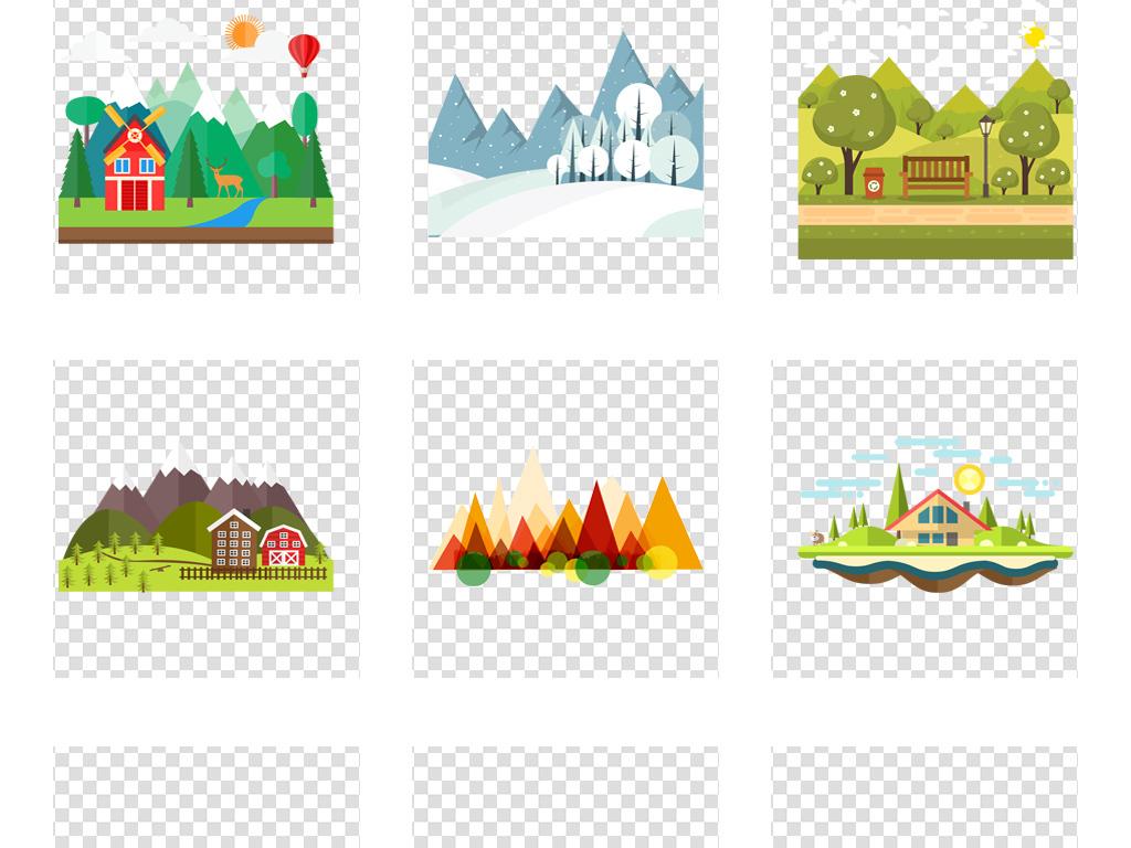植物手绘森林卡通树林岛屿卡通山峰城市树林城市建筑素材手绘卡通扁平