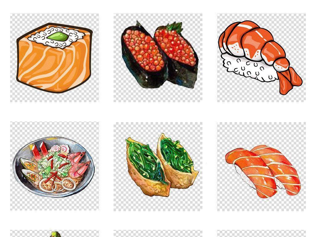 免抠元素 生活工作 食物饮品  > 卡通手绘日本寿司日式料理免扣素材