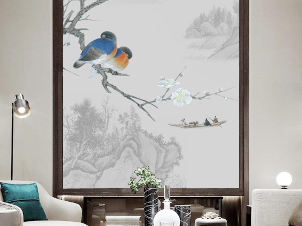 高清水墨工笔手绘花鸟山水玄关背景墙装饰
