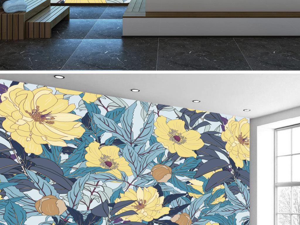 北欧小清新手绘水彩黄色花朵田园壁画背景墙