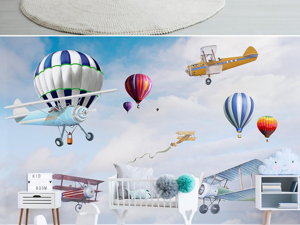 北欧简约手绘卡通飞机气球儿童房背景墙图片设计素材