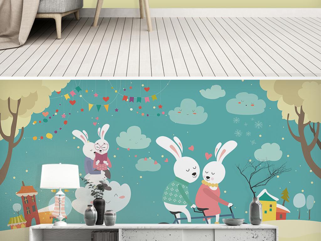 手绘卡通兔子儿童房背景墙图片设计素材_高清模板下载