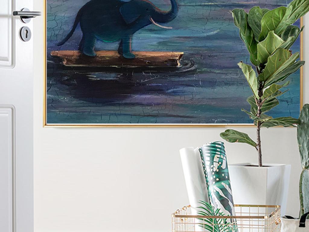 新中式和风现代艺术抽象油画水彩海上日出写实意境欧式复古装饰画挂画