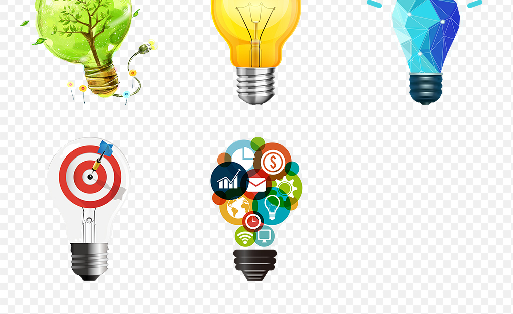 卡通创意商务手绘灯泡海报素材背景png
