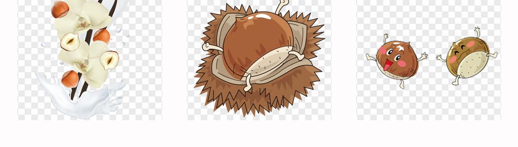 50款可爱卡通手绘美味板栗坚果美食海报png素材