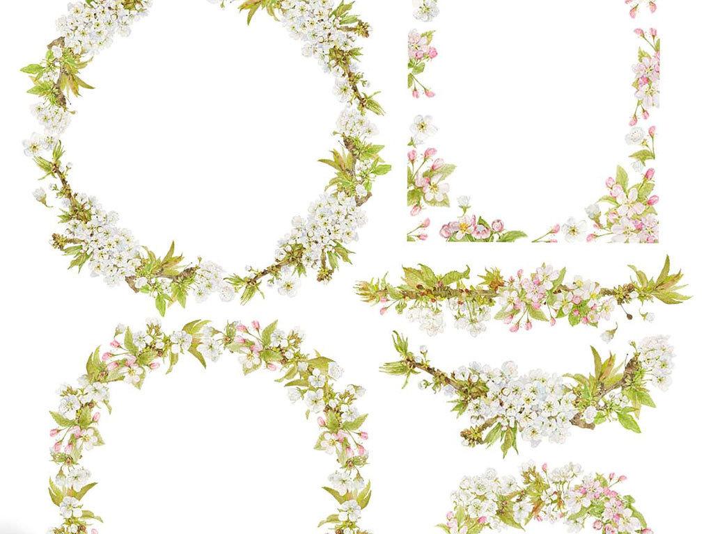 手绘水彩白色桃花樱花梅花树枝花环边框背景png免抠设计素材