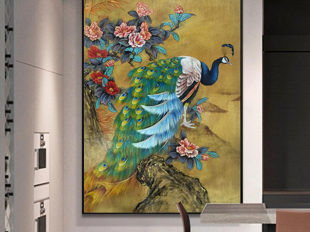 高清手绘油画孔雀花朵欧式清新玄关装饰画