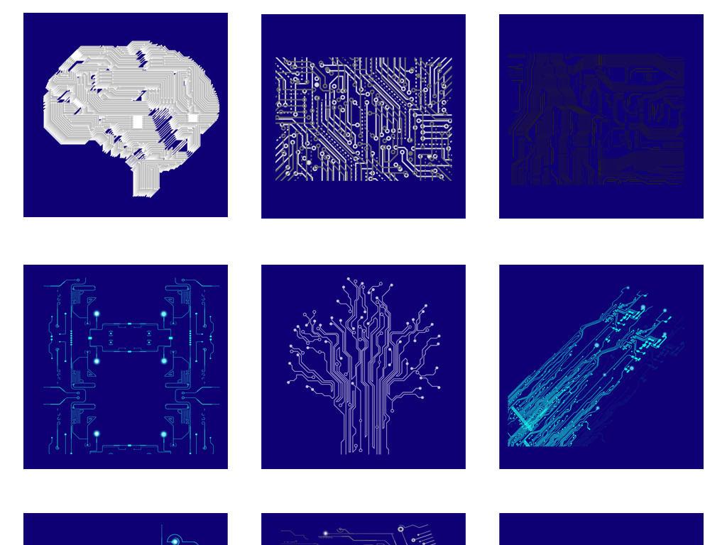 免抠元素 科技素材 科技点线图 > 科技未来电路板光晕图标电子元件png