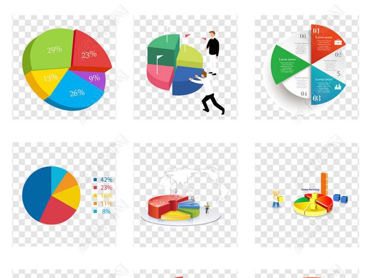 商务数据汇报总结分析饼状演示ppt素材