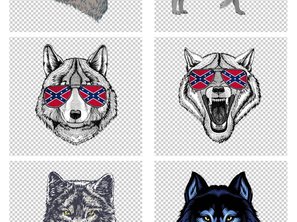 卡通手绘狼头狼图案狼图腾动物png素材