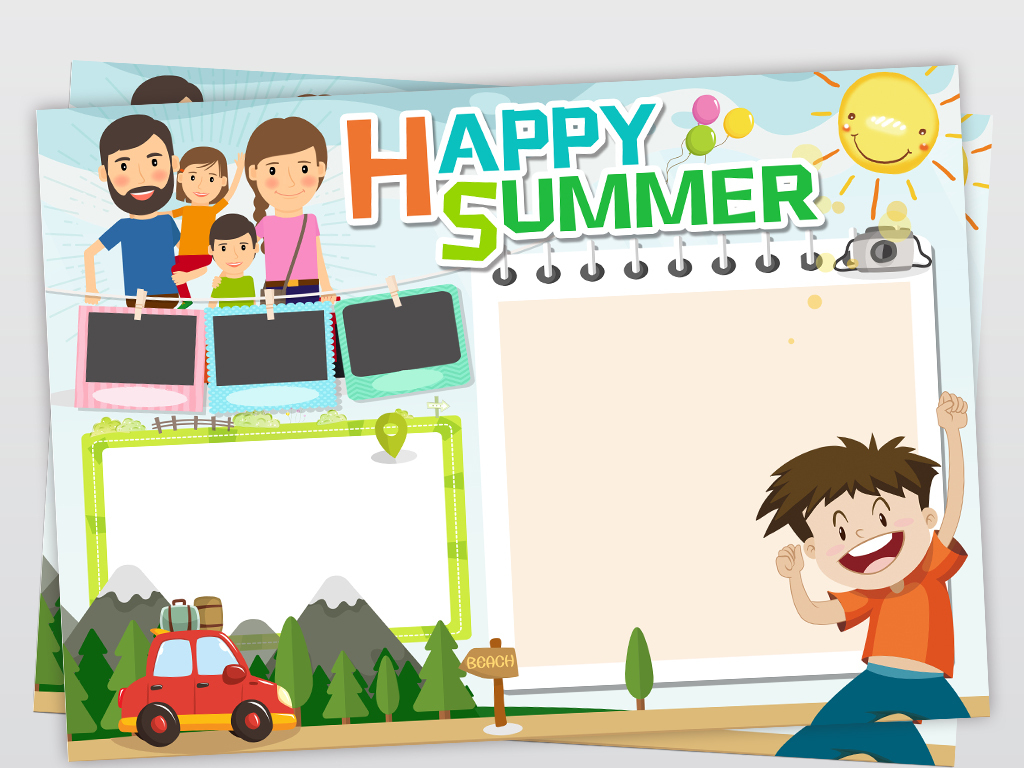 可爱卡通英文暑假生活小报好看的电子手抄报模板