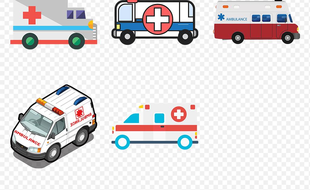 卡通急救知识救援救护车宣传栏海报素材背景png图片