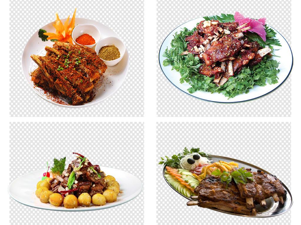 手绘bbq美食烤肉羊排牛排餐饮png素材