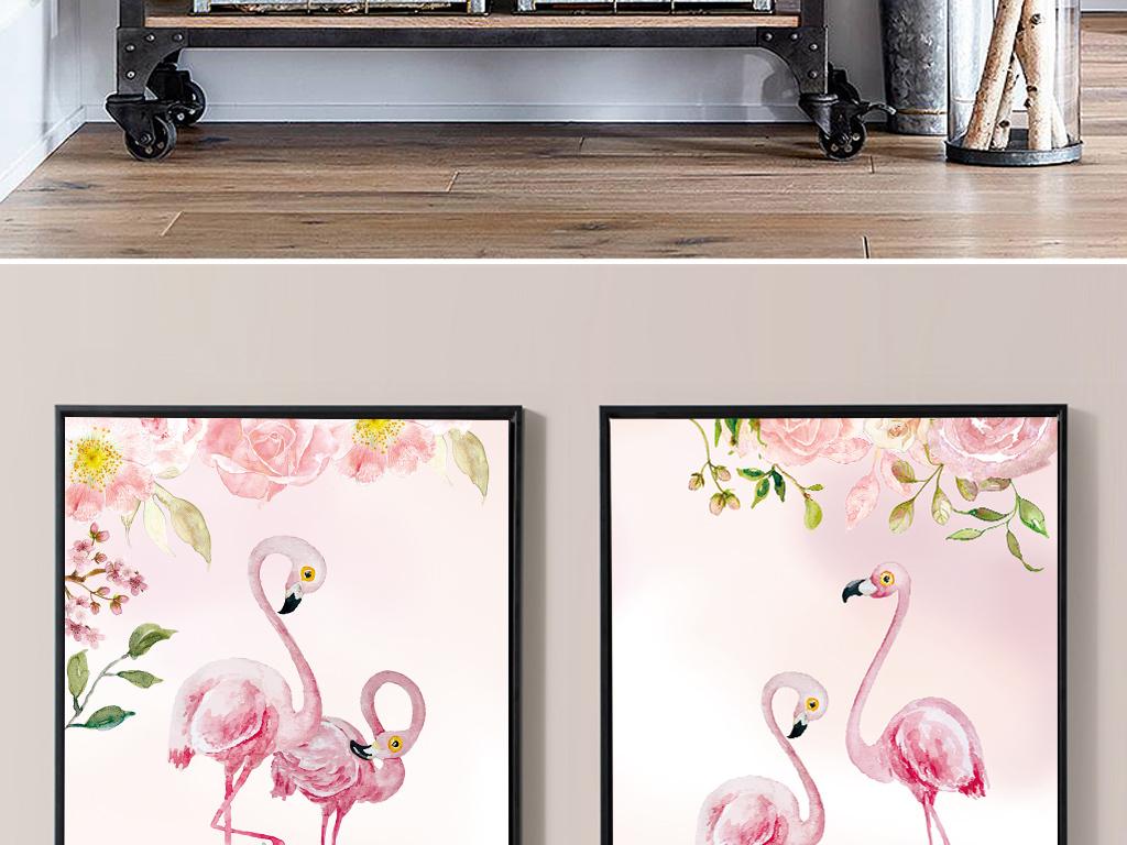 粉色手绘火烈鸟无框装饰画