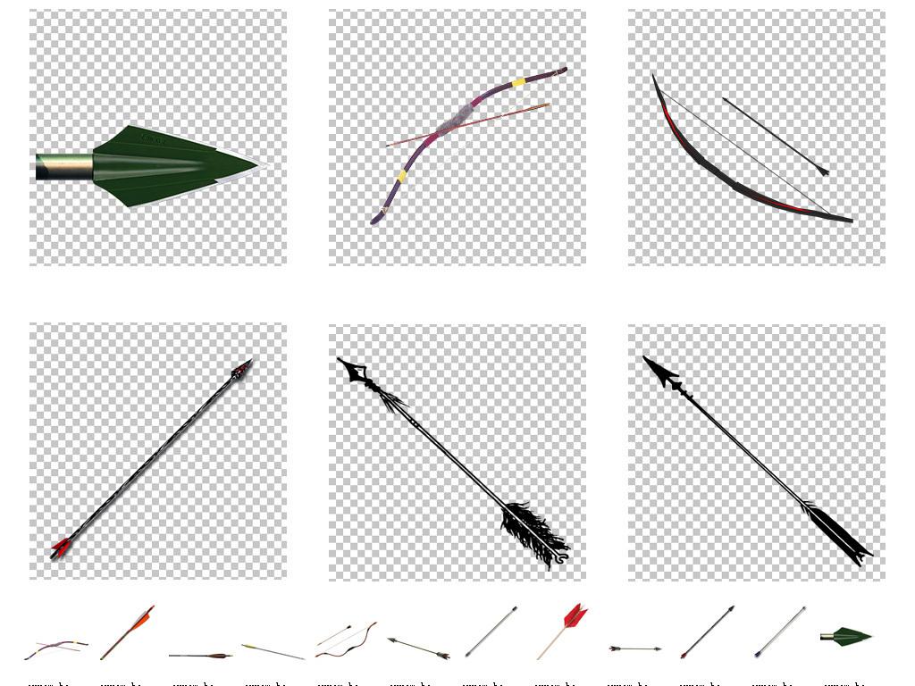 卡通手绘古代弓箭png免扣透明素材