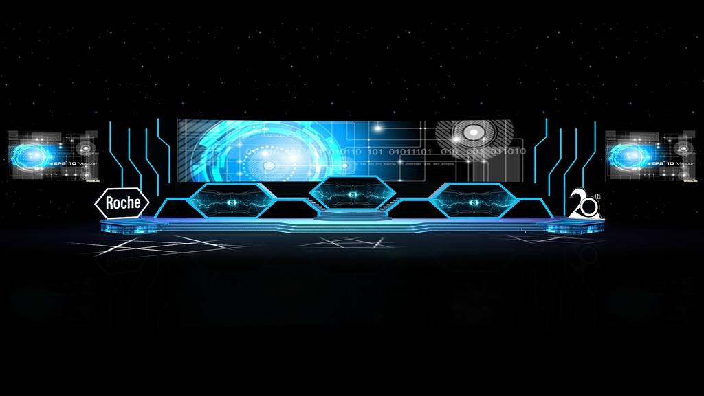 科技年会晚会年会舞美活动年会答谢舞台背景设计3d模型