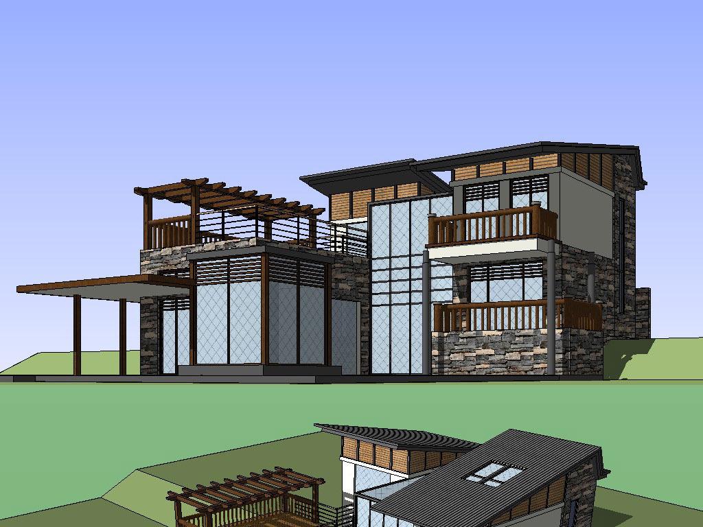 欧式别墅大师模型SU别墅含CAD图草图迁安水城图片