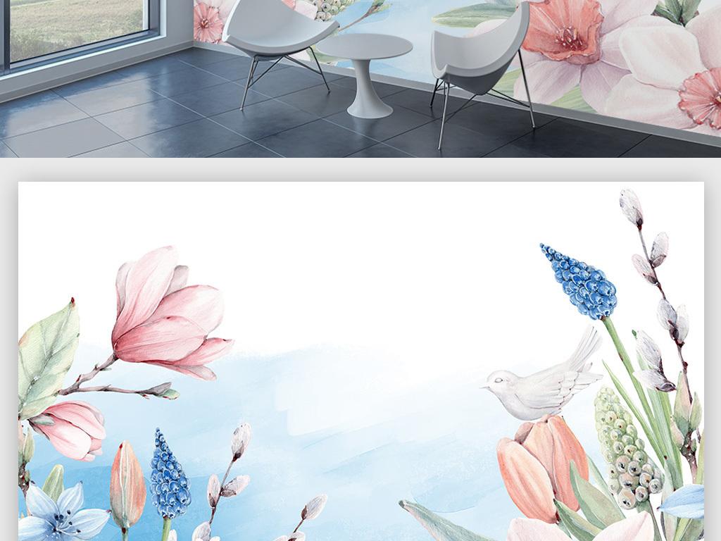 手绘水彩花卉动物背景墙