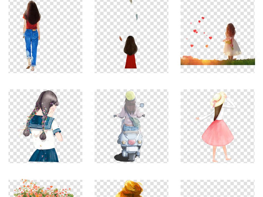 免抠元素 人物形象 美女 > 卡通唯美手绘女孩背影彩绘人物背影文艺