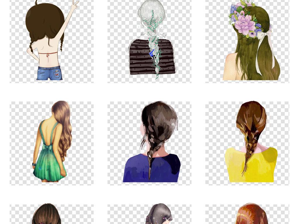 卡通唯美手绘女孩背影彩绘人物背影文艺海报png素材