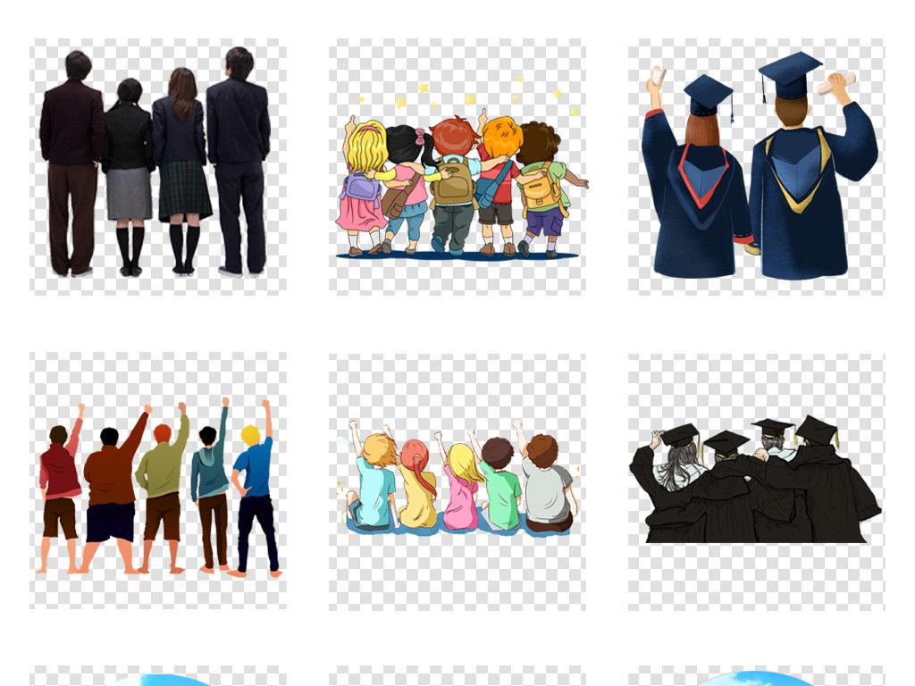 50款卡通儿童学生人物背影毕业季海报png免抠素材