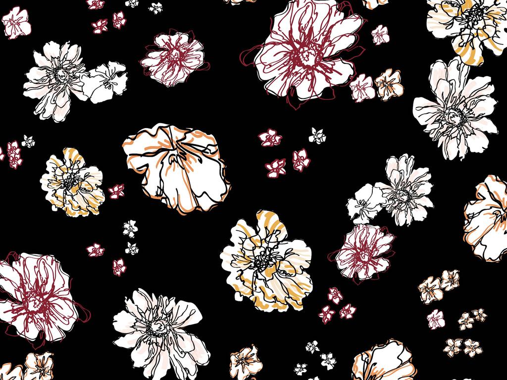 ai矢量抽象手绘线条艺术晕染大花家纺服装