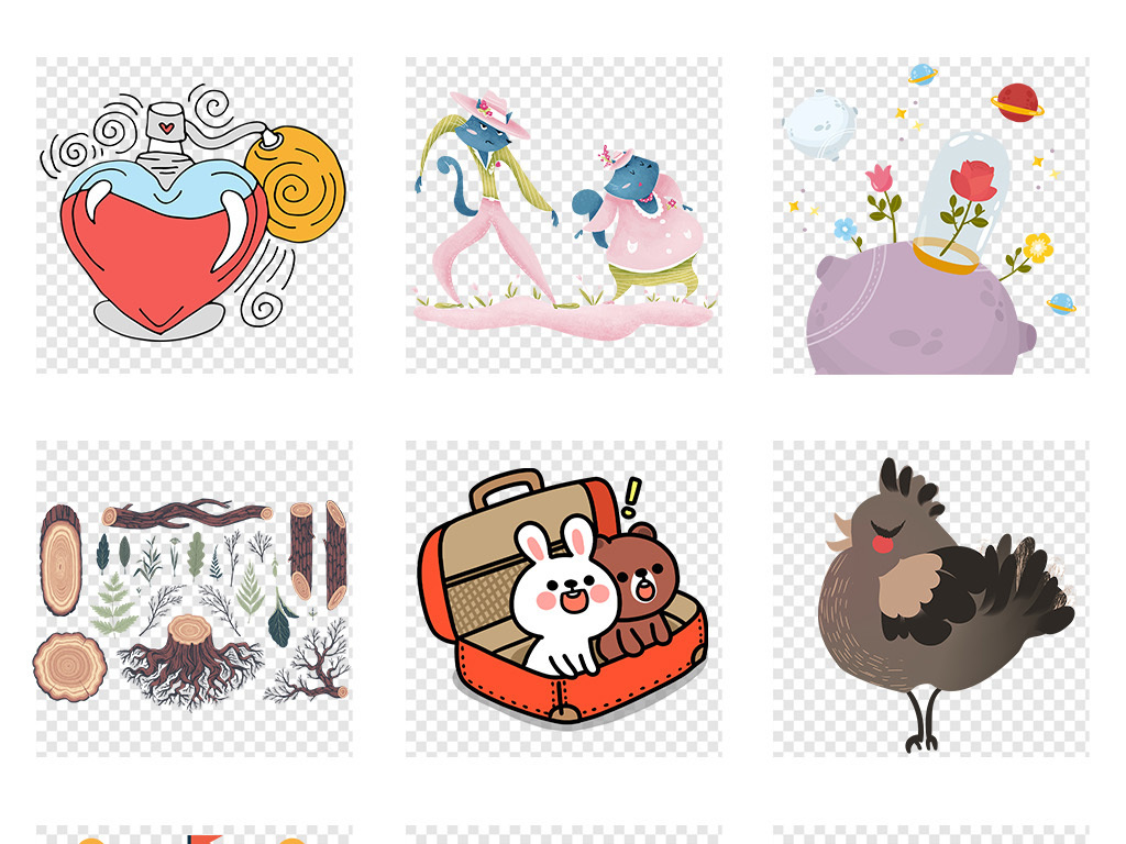 手绘涂鸦水彩森林小动物插画png免扣元素