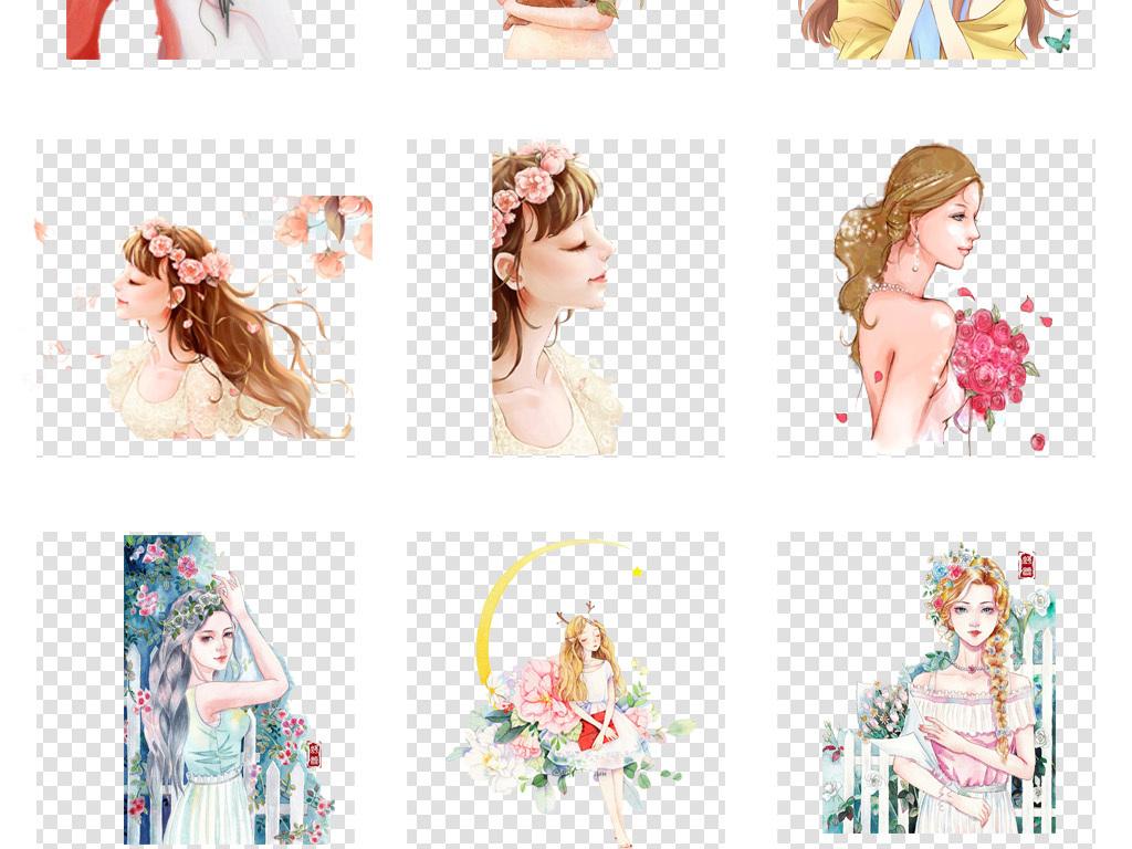 手绘美女时装设计人物手绘手绘素材时装手绘背影插画女孩人物卡通人物