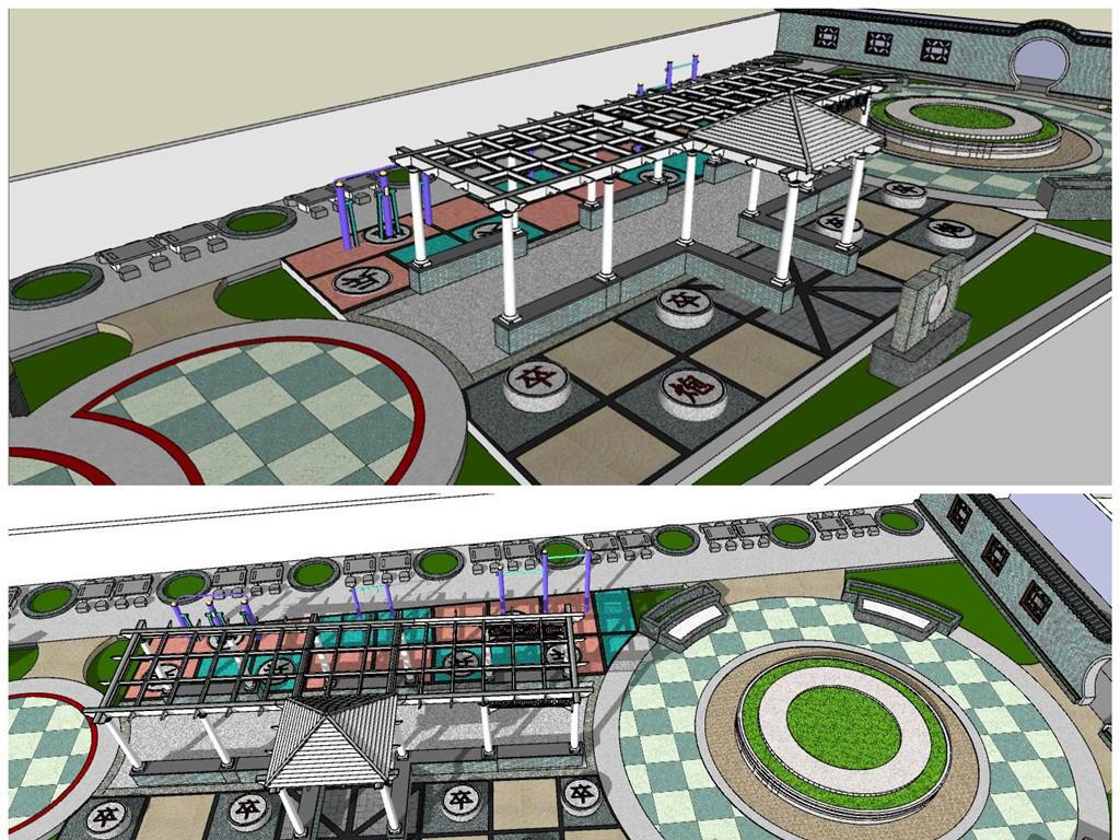 精品象棋游园景观小品广场su模型设计图下载(图片3.14