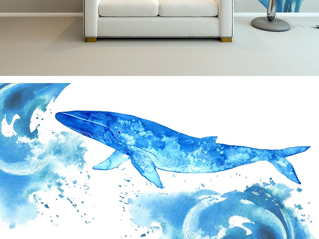 背景墙 电视背景墙 手绘电视背景墙 > 水彩海豚简约背景墙  素材图片