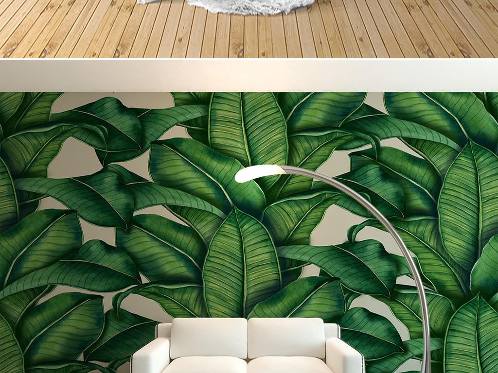 手绘绿色植物树叶背景墙