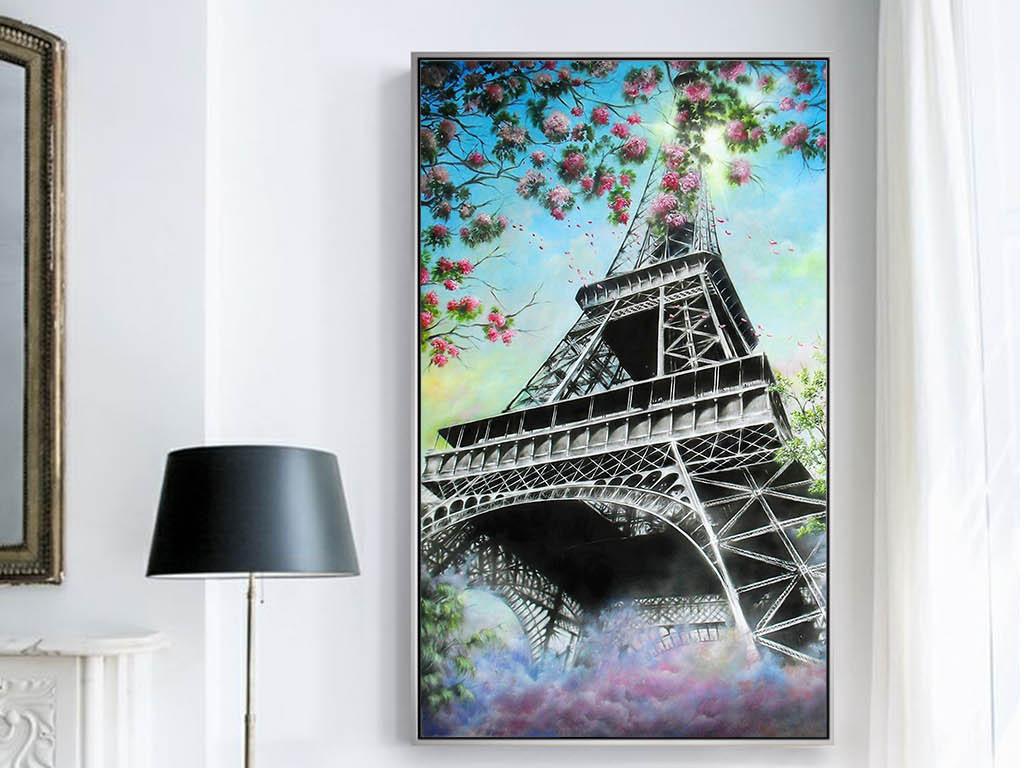 欧式手绘风景花卉埃菲尔铁塔客厅装饰画